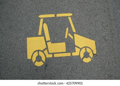 golf cart sign and symbol on road