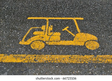 golf cart symbol on the ground.