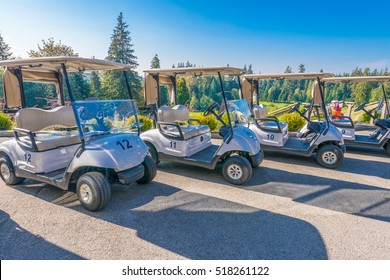 Golf carts at the golf course.