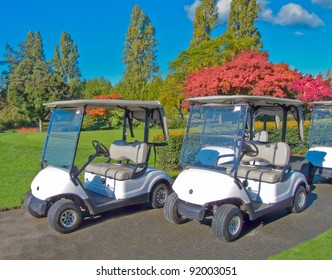 Golf carts side by side on the path.