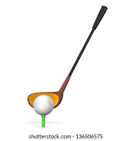 Golf Club And Ball Front View