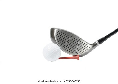 Golf club and ball on white