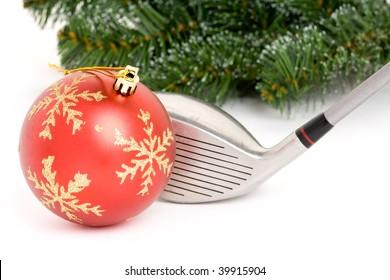 golf club and Christmas Ball close up
