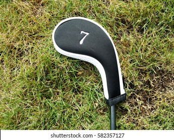 A golf club covered with labeled head cover laid on the grass