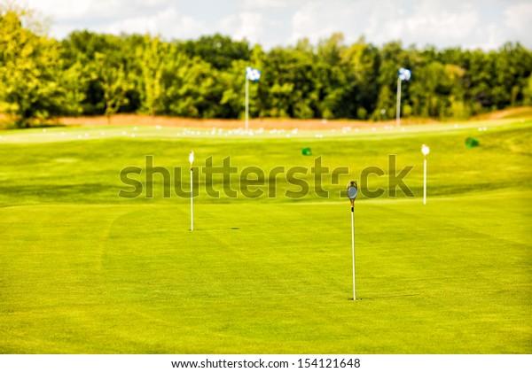Golf Club field at sunny day