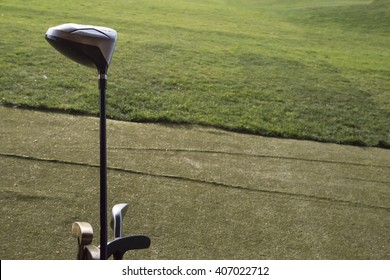 golf club green. Golf clubs on a background of field courses
