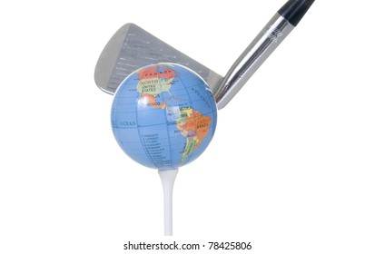 A golf club in mid-swing is about to hit a golf ball that resembles a globe.
