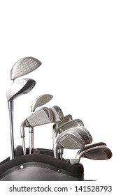 golf clubs in golf bag isolated on white background