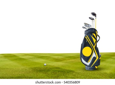 Golf Clubs , Ball , Bag on green Isolated  on white background.