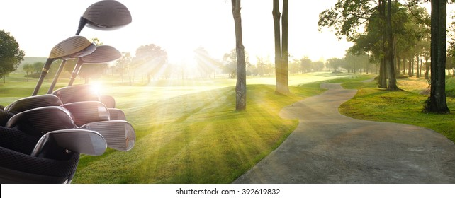 Golf clubs drivers over  beautiful golf course at the sunset, sunrise time.