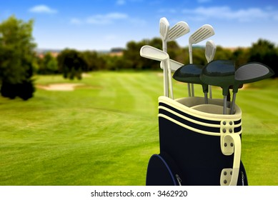 golf clubs on a golf course on a beautiful sunny day