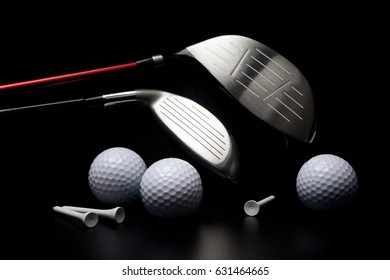 golf clubs and other equipment against black