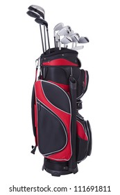 Golf clubs in red and black bag isolated on white