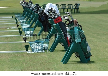 Golf clubs at a golf school in Florida.