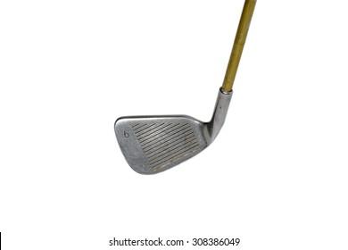 Golf clubs, through hard work on white background.