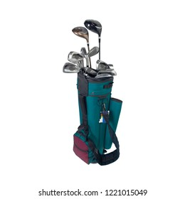 Golf clubs in white golf bag isolated on white background