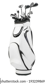 golf clubs in a white bag / isolated on white background