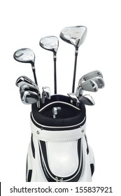 golf clubs in a white bag on white background