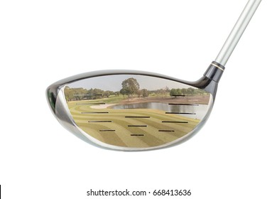 Golf concept, the shiny metal golf driver club and green golf course panoramic view inside with white background.