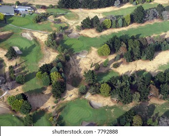 A Golf course from above taken early morning