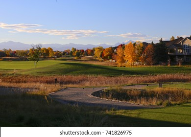 Golf course in the autumn in Broomfield, Colorado with colorful trees