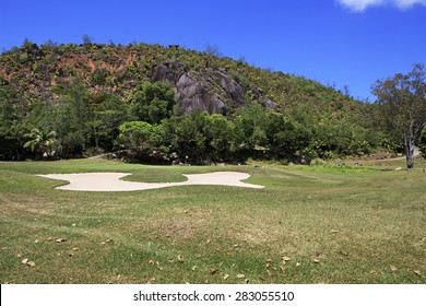 Golf course at the Constance Lemuria Resort. Praslin Island in the Seychelles.