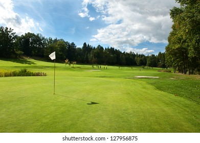 Golf course in the countryside.