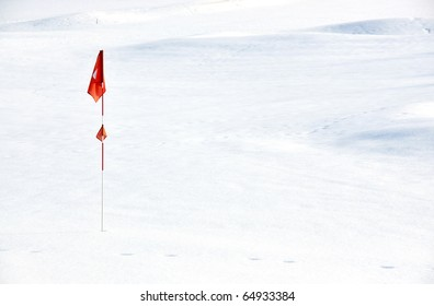 Golf course covered with snow