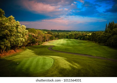 Golf Course Fairway in Colorful Morning Light