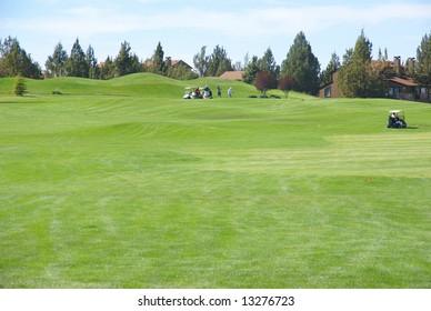 Golf course, green fairway, blue sky,Eagle Crest Resort Golf Course,Central Oregon