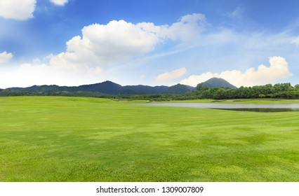 Golf course with Green grass and trees in beautiful park under the blue sky