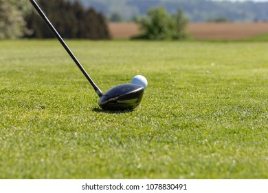 golf course lawn grass ball in springtime landscape of south germany countryside for relaxing outdoors