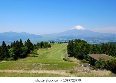 Golf course, Mt. Fuji in the background, Gotenba, Shizuoka, Japan