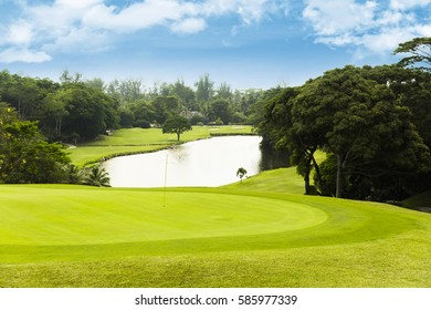 Golf course on island seychelles