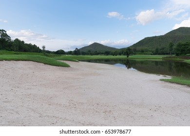 Golf course on the mountain view.