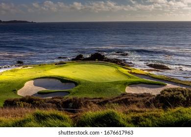 golf course on pacific coastline in California, united states