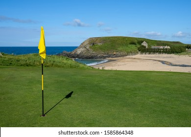 Golf course overlooking the sea on the South West coast path in Cornwall