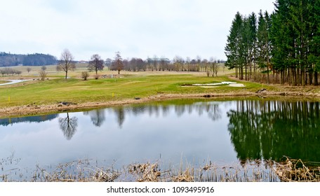 golf course with pond at the region Burgenland in spring, Austria