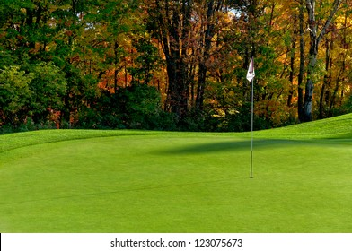 Golf course putting green with flag in autumn colors