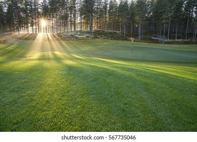 Golf course the rays of the sun