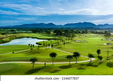 Golf course with a rich green turf beautiful scenery.