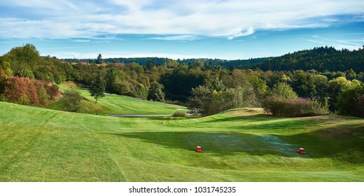 Golf course with sunny day. Europe