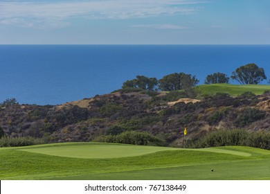 Golf Course at Torrey Pines with Pacific Ocean in the background La Jolla California USA near San Diego