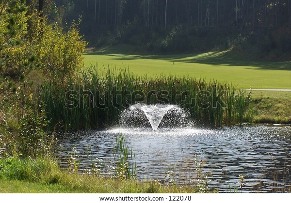 Golf Course Water Fountain