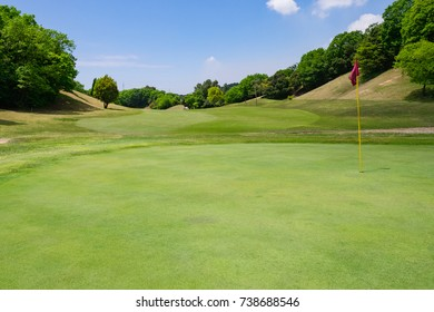 Golf Course where the turf is beautiful and green in Kurashiki City, Okayama Prefecture, Japan. Golf is a sport to play on the turf