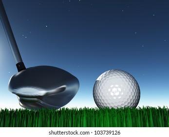 Golf Driver with golf ball on grass