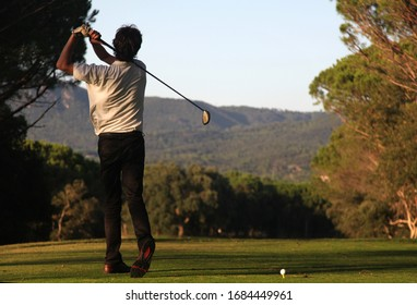 golf driver swing in the tee