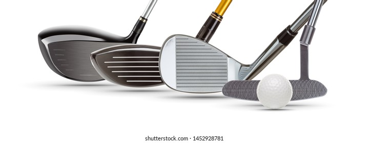 Golf Driver Woods, Iron Wedge, Putter and Ball on White Background.