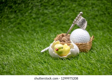 Golf Easter with chicken and golf ball on 19th hole on green