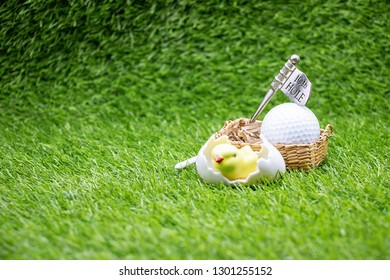 Golf Easter with chicken and ball on green grass